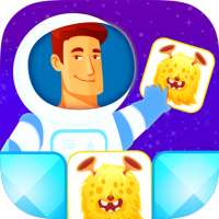 Matching game free for kids. Space monsters!